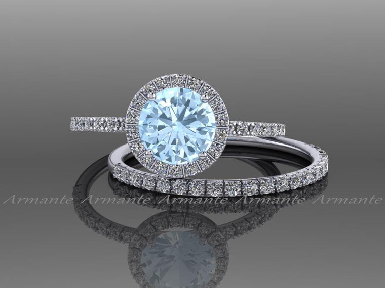 Aquamarine and Diamond Engagement Set