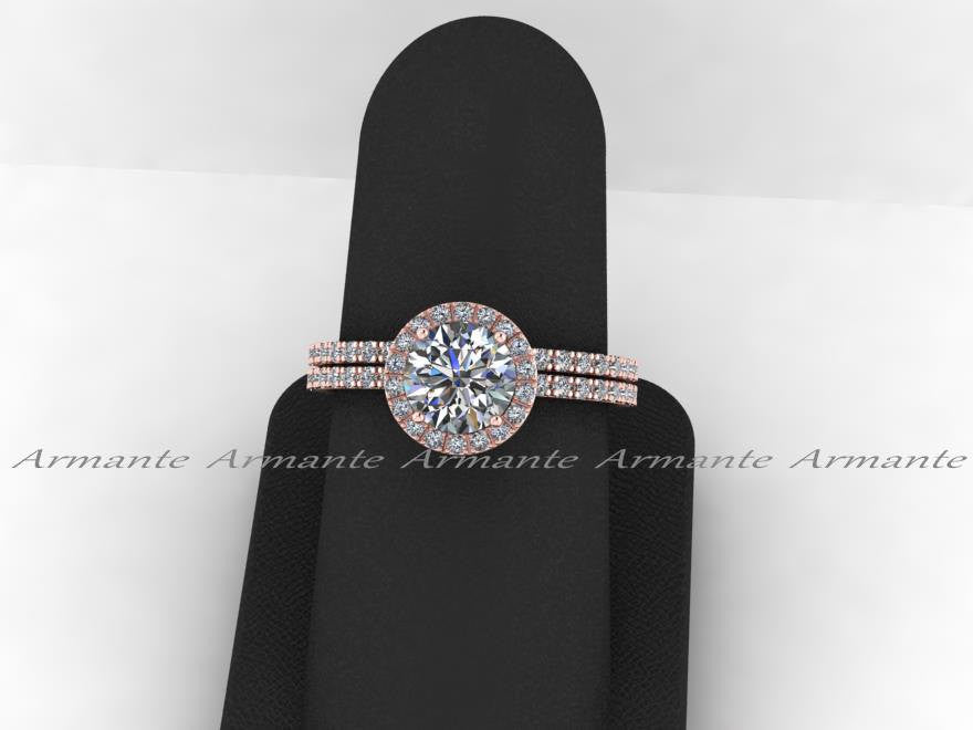 Rose Gold White Sapphire & Moissanite Wedding Ring Set