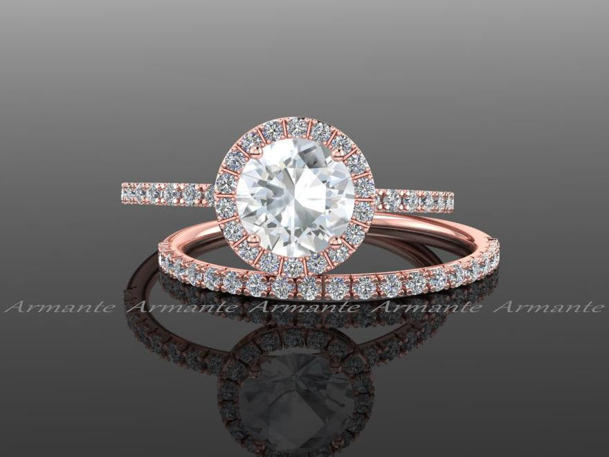 Diamond Alternative Engagement Set, 14K Rose Gold