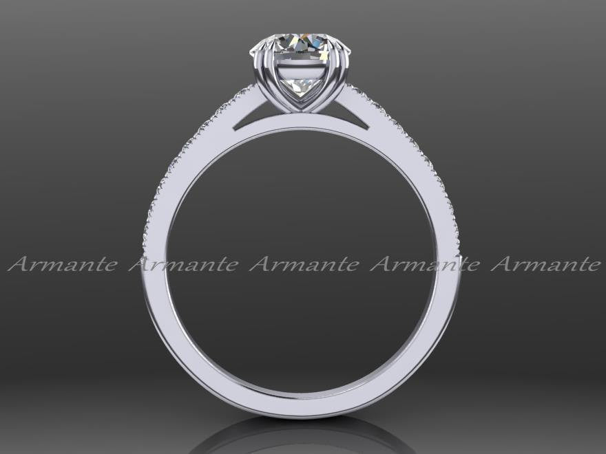 Solitaire Diamond And Moissanite Engagement Ring 14K White Gold
