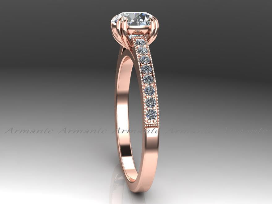 Vintage Style Solitaire Moissanite & Diamond Wedding Ring