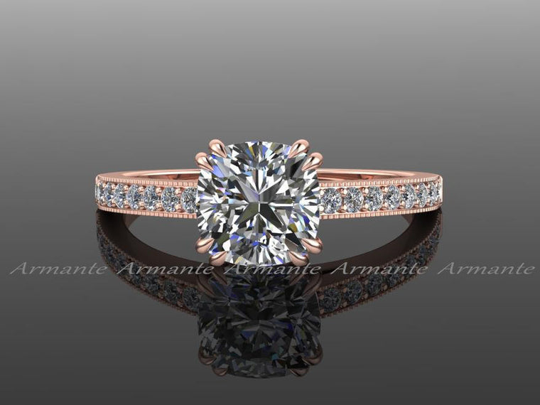 Moissanite Vintage Style Engagement Ring, Diamond And Moissanite Engagement Ring 14k Rose Gold Round Moissanite Ring Re00018r