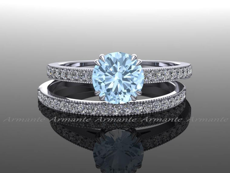 Diamond And Aquamarine Bridal Ring Set