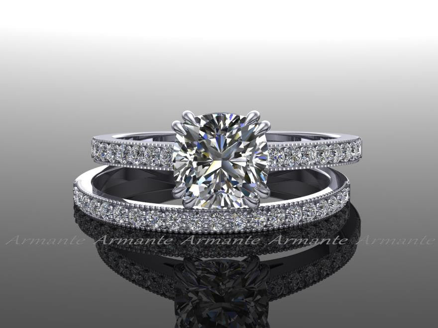 White Gold Moissanite & Diamond Rings Set
