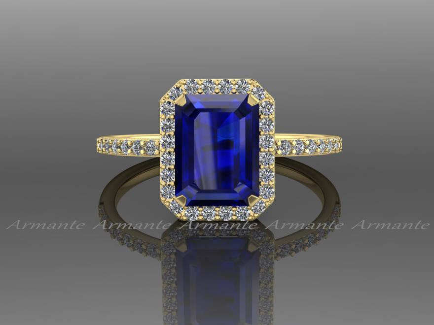 Emerald Cut Blue Sapphire Engagement Ring, 14K Yellow Gold