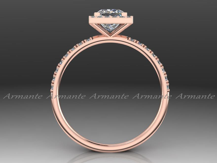 Princess Cut Moissanite Engagement Ring, 14K Rose Gold