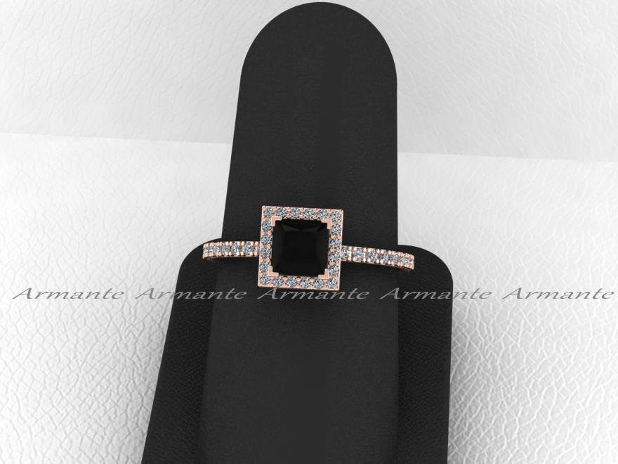 Black Diamond Princess Cut Engagement, Halo Wedding Ring