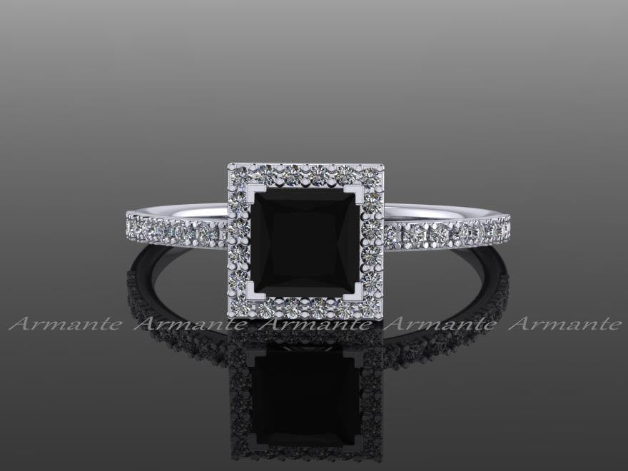 White Gold Black Diamond Princess Cut Wedding Ring