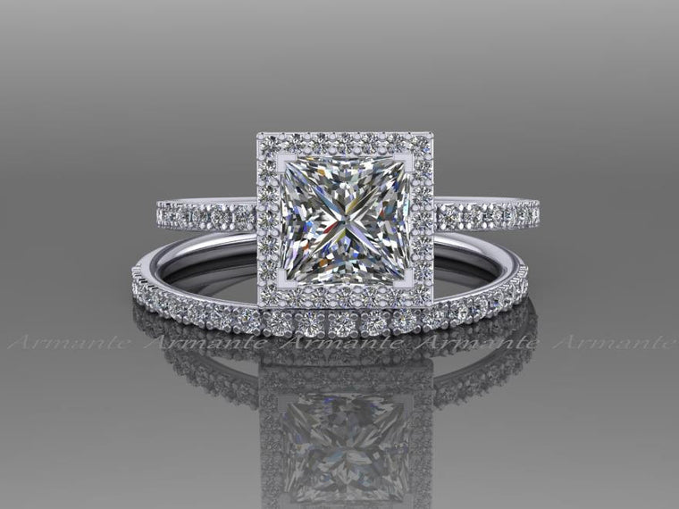 Moissanite And Natural Diamond Bridal Set, 14K White Gold
