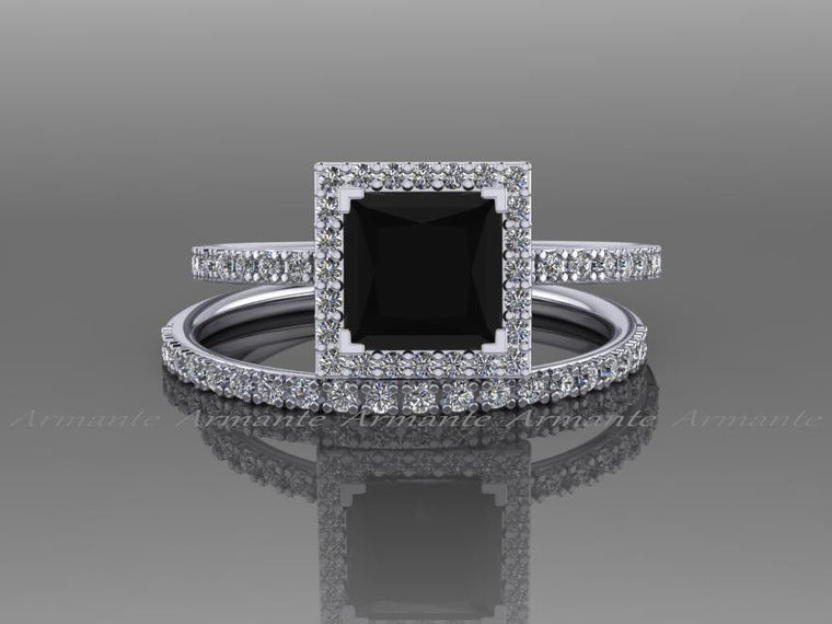 Halo Natural Princess Cut Black Diamond Engagement Set