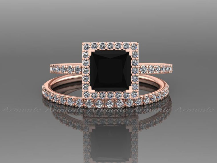 Princess Cut Natural Black Diamond Engagement Ring Set