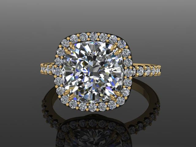 Cushion Forever Brilliant Moissanite Diamond Halo BridalRing