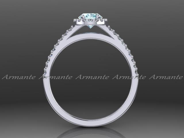 Oval Cut Blue Aquamarine and Diamond Halo Engagement Ring