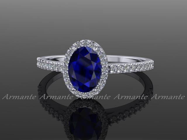 Oval Cut Blue Sapphire and Diamond Engagement Ring