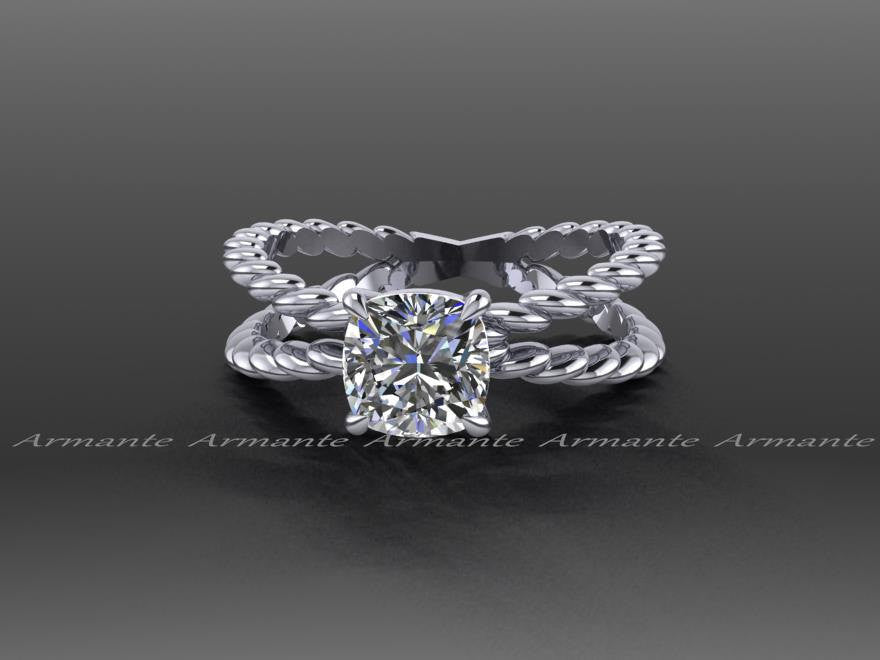 White Gold Cushion Cut Forever One Moisanite Engagement Ring