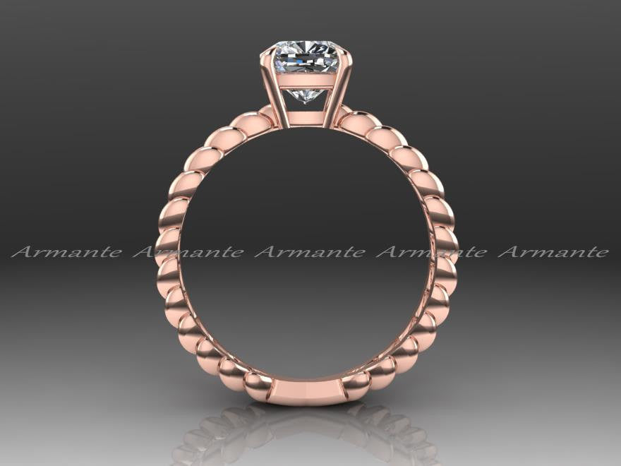 Forever One Moissanite Rose Gold Solitaire Wedding Ring