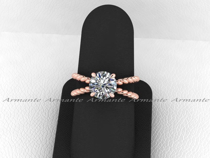 Forever One Round Moissanite Solitaire Ring, 14K Rose Gold