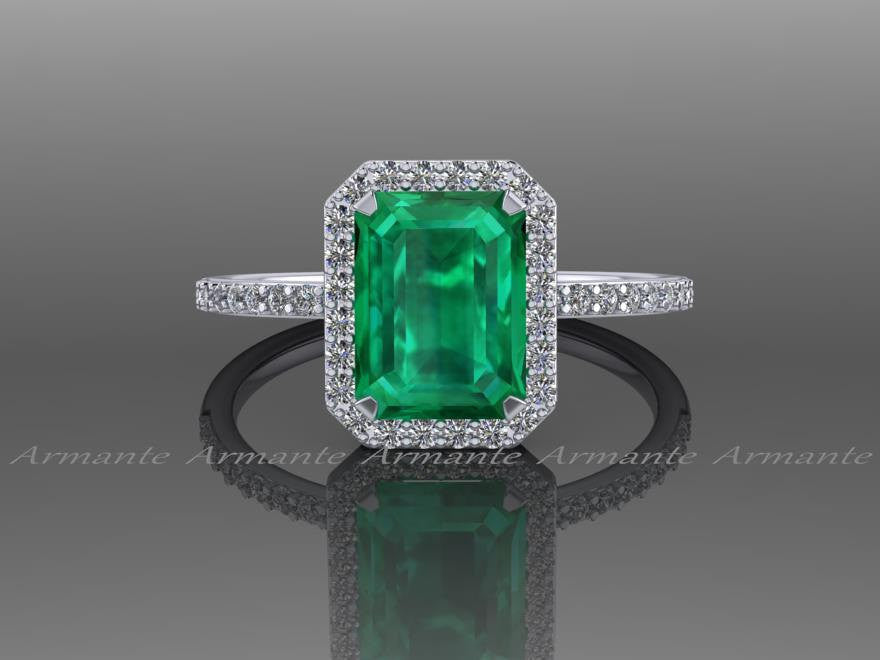 Lab Grown Emerald and Diamond Wedding Ring, 14K White Gold