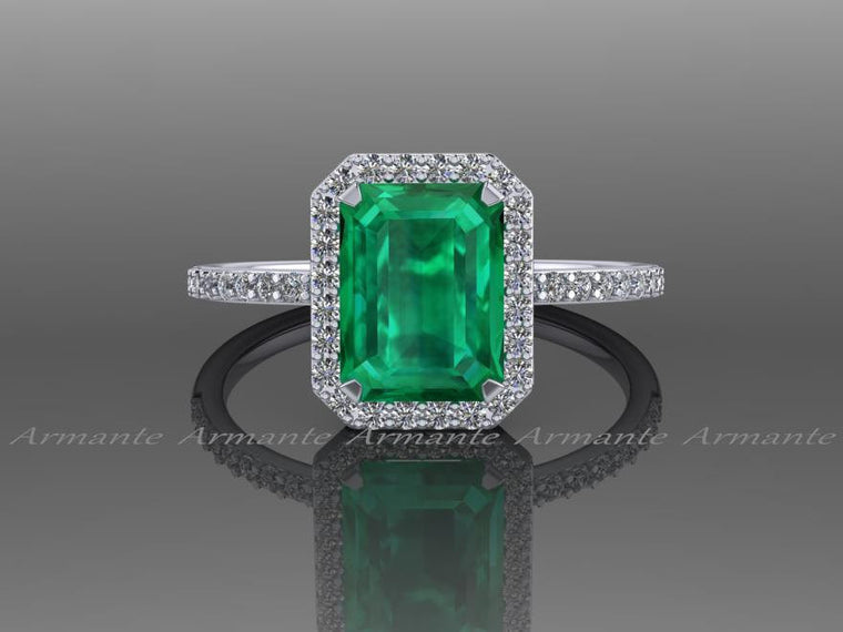 Emerald Engagement Ring / Natural Diamond 14k White Gold Halo Ring / Lab Grown Emerald Wedding Ring Re0005