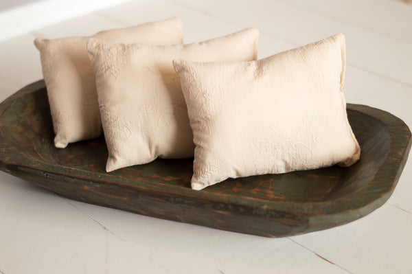 Creamy Embroidered Pillow