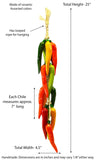 Large Ristra/ Sting of Ceramic Chili Hungaro, with 16 Chiles-25 Inches Long