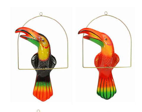 "Ceramic Hanging Toucan with Perch-21""H. Multi-Color Hand Painted"