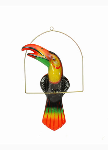 Ceramic Hanging Toucan with Perch-21 Inches High, Multi-Color, Hand Painted
