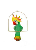 Ceramic Hanging Cockatoo with Perch-19 Inches High, Multi-Color, Hand Painted