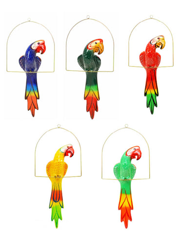 Clay Hanging Macaw with Perch-25 Inches High, Multi-color, Hand Painted