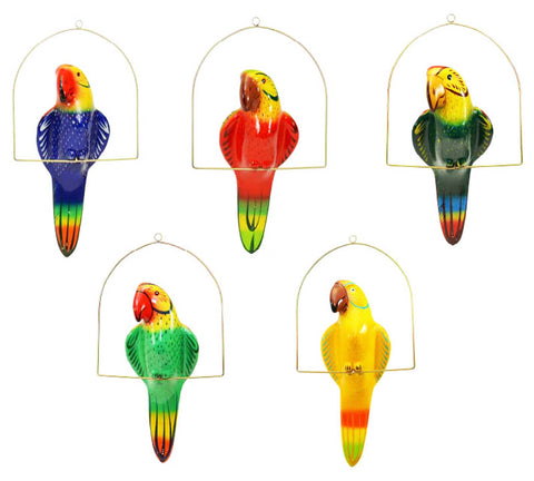 Ceramic Hanging Parrot with Perch-22.5 Inches High, Multi-Color, Hand Painted