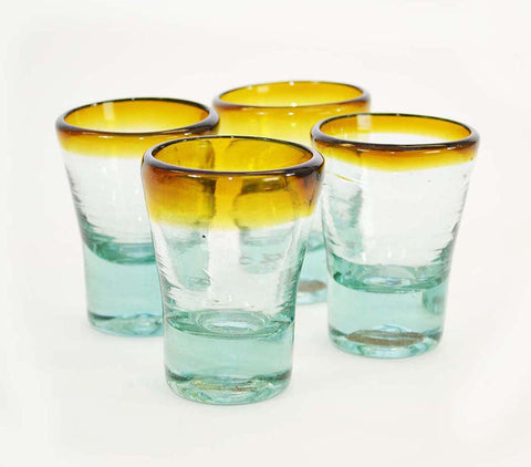 Set of 4, Mescal/Tequila Sippers-3 Ounces, Amber Rim