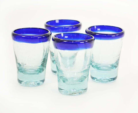Set of 4, Mescal/Tequila Sippers-3 oz, Blue Rim