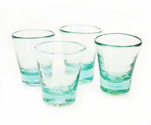 Set of 4, Mescal/Tequila Sippers-3 Ounces, Clear Recycled