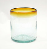 Set of 4, Amber Rimmed Cocktail/Juice Glass-10-12 ounces, Recycled Glass