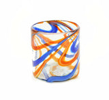 Set of 4, Blue and Orange Swirl Double Old Fashioned Rocks Glasses-16 Ounces, Recycled Glass