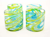 Set of 4, Aqua and Lime Swirl Double Old Fashioned Rocks Glasses, 16 Ounces, Handmade w/Recycled Glass