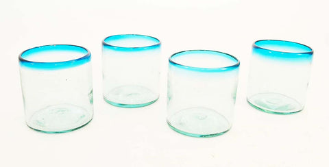 Set of 4, Handmade Mexican Aqua Rimmed Rocks Glasses, Recycled Glass-14-16 Ounces