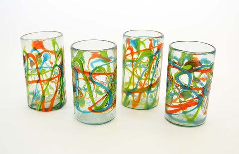 Set of 4, Green, Aqua and Orange Swirl Ice Tea Glasses-20 Ounces
