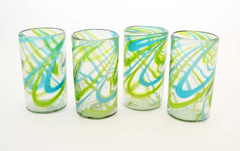 Set of 4, Aqua and Lime Swirl Ice Tea Glasses-20 Ounces.  Handmade in Mexico