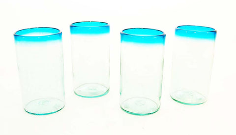 Set of 4, Aqua Rimmed Ice Tea Glasses-20 Ounces
