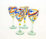 Set of 4, Blue and Orange Swirl Wine Glasses-12 Ounces