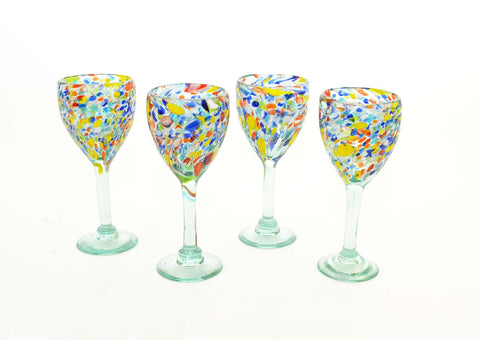 Set of 4, Carnival Confetti Wine Glasses-12 Ounces