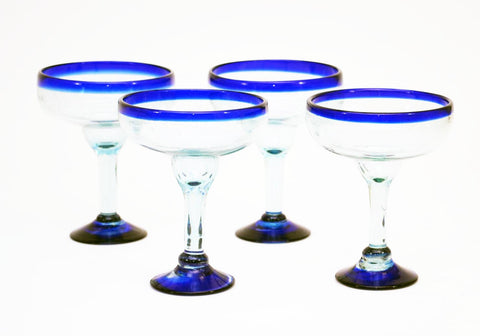 Set of 4, Handmade Mexican Blue Rimmed Margarita Glasses, Recycled Glass-16 Oz