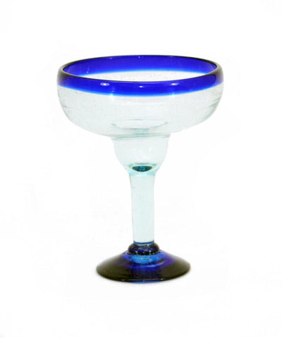 Handmade Mexican Blue Rimmed Margarita Glass, Recycled Glass, 14-16 Ounces, Individual Piece