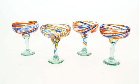 Set of 4, Handmade Mexican Blue and Orange Swirl Margarita Glasses-16 Oz
