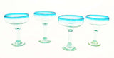 Set of 4, Handmade Mexican Aqua Rimmed Margarita Glasses, Recycled Glass-16 Ounces