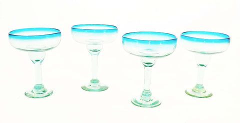 Set of 4, Handmade Mexican Aqua Rimmed Margarita Glasses, Recycled Glass-16 Oz