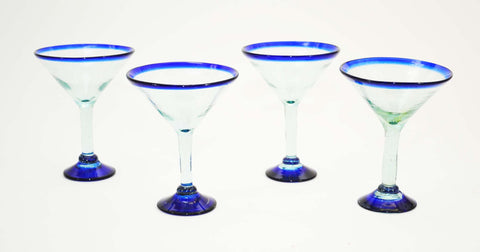 Set of 4, Blue Rimmed Martini Glasses, Recycled Glass-12 Ounces.