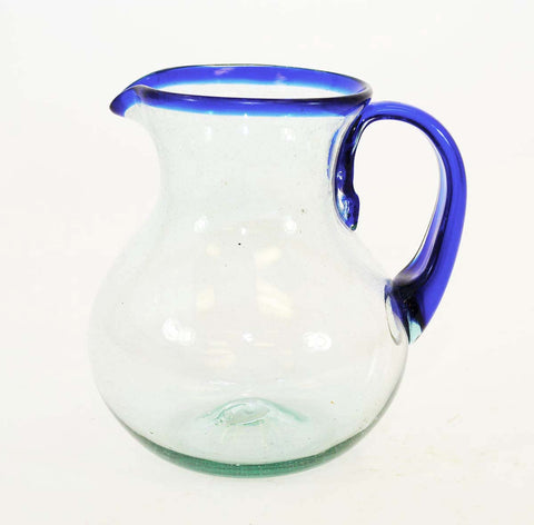Blue Rimmed Ball Pitcher, Approx. 120 Ounces, Handmade in Mexico
