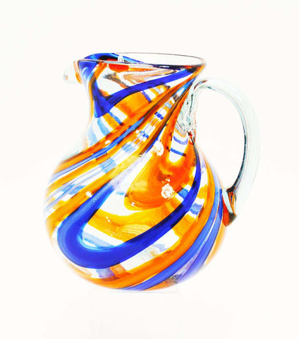 Blue and Orange Swirl Ball Pitcher-approx. 120 ounces. Handmade.